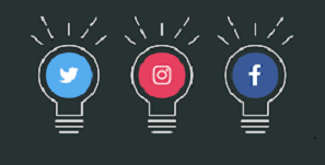 image of light bulbs with social media icons inside