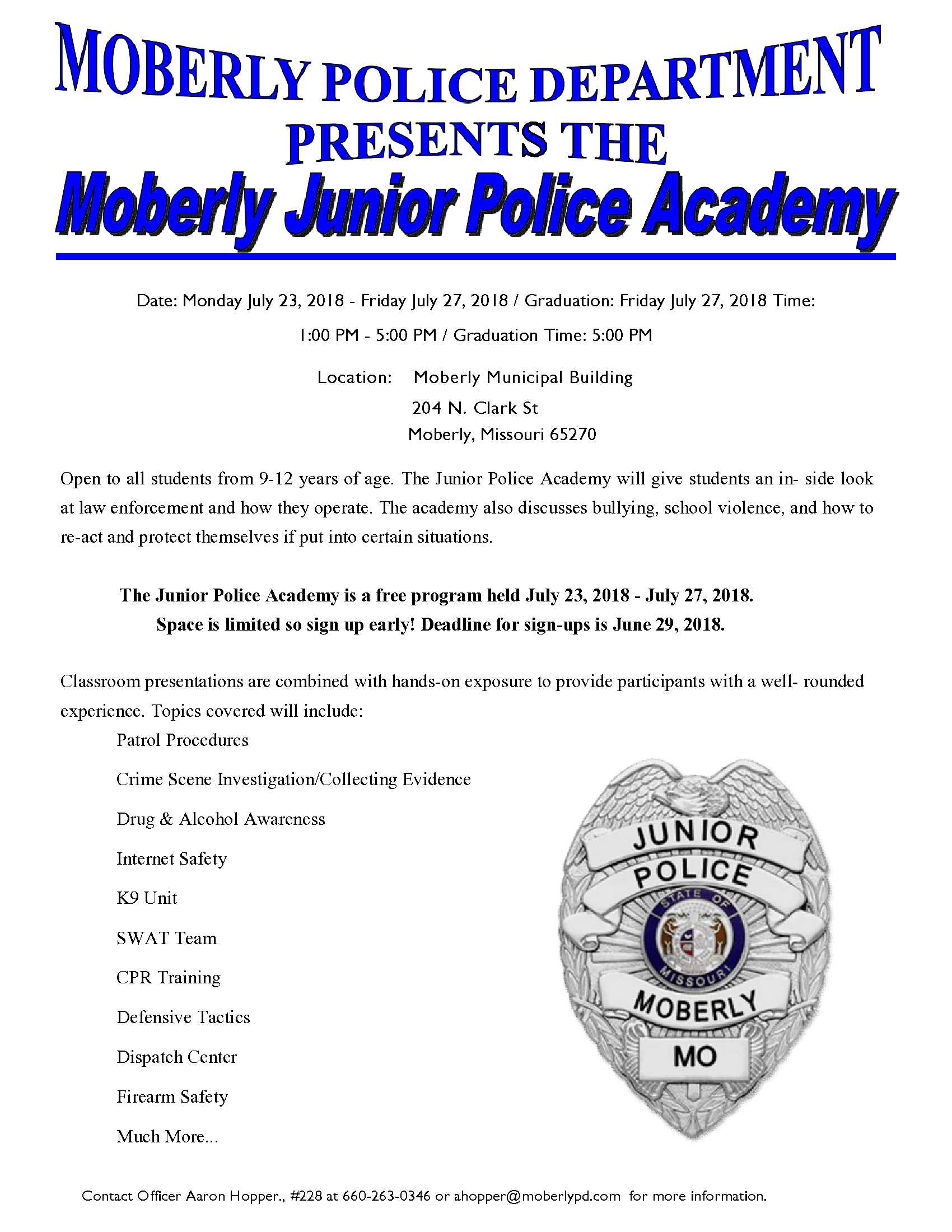 2018 Jr Police Academy Information Flyer